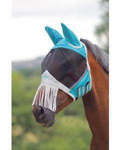 Shires vliegenmasker met oren en franjes over neus